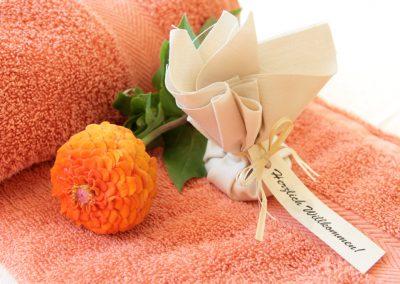 kuscheliger Leihbademantel und Handtücher